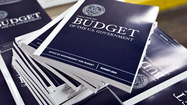 A pile of bound copies of the federal budget