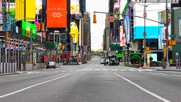 A mostly empty Times Square in New York City