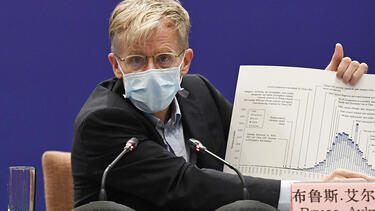 Bruce Aylward, assistant director general of the World Health Organization, at a press conference in Beijing on February 24, 2020. Photo: Kyodo News via Getty Images.