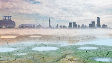 Illustration of dried up lake with Toronto cityscape in the distance