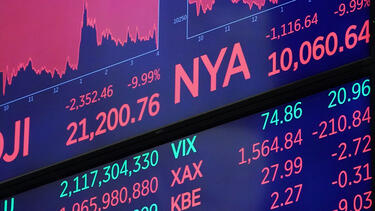 A display at the New York Stock Exchange at the end of trading on March 12, 2020. Photo: Bryan R. Smith/AFP via Getty Images.