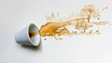 A photo of a coffee spill turned into a drawing