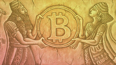 A drawing of a wall carving showing ancient people exchanging Bitcoin