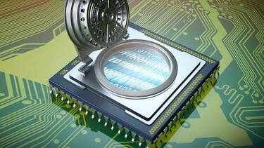 An illustration of a microchip with a vault door