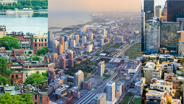 Aerial photos of, from left, Boston, Chicago, and San Francisco