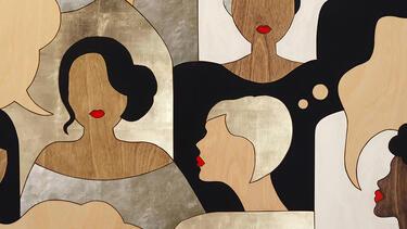 Artwork of women of various races speaking