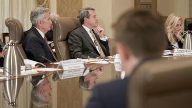 A Federal Reserve Board meeting in Washington, D.C., in October 2018. Photo: Andrew Harrer/Bloomberg via Getty Images.