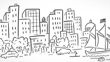 sketch of cityscape