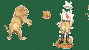 Paper dolls of lions and lion tamer