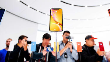 Newly introduced iPhones at an Apple event in September 2018. Photo: Noah Berger/AFP/Getty Images.
