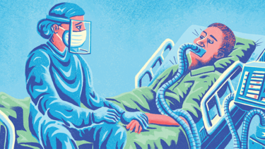 An illustration of a nurse in full PPE holding the hand of a patient attached to a respirator