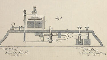 A drawing of an improved telegraph machine from an 1869 patent application by Thomas Edison.