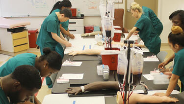 students in a phlebotomy class