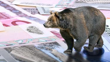 A photo illustration of a bear walking on Russian money