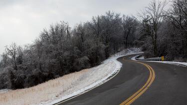 A mountain road in Appalachian Ohio