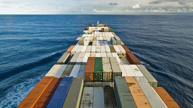 A ship full of shipping containers