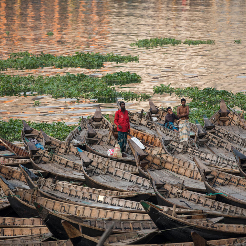 Idled boats on the shore of Buriganga River in Dhaka, Bangladesh, on March 31. Photo: Ahmed Salahuddin/NurPhoto via Getty Images.