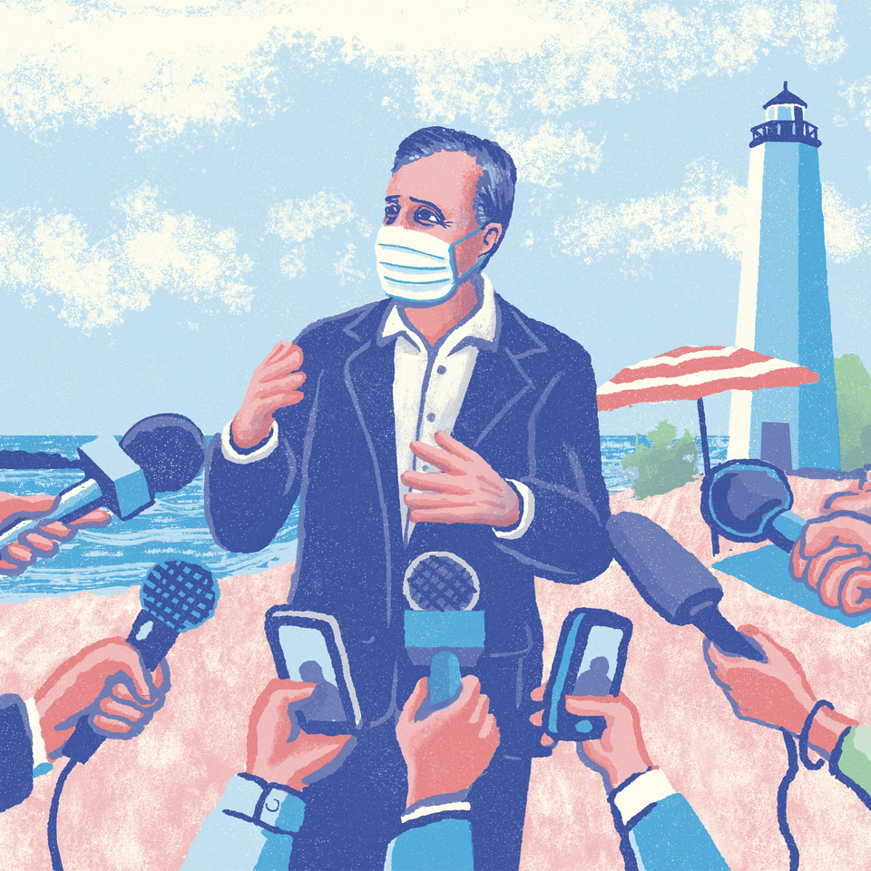 An illustration of Governor Ned Lamont speaking to the press wearing a mask on the beach