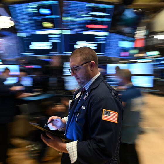 A trader at the New York Stock Exchange on February 28, 2020.Photo: Johannes Eisele/AFP via Getty Images.