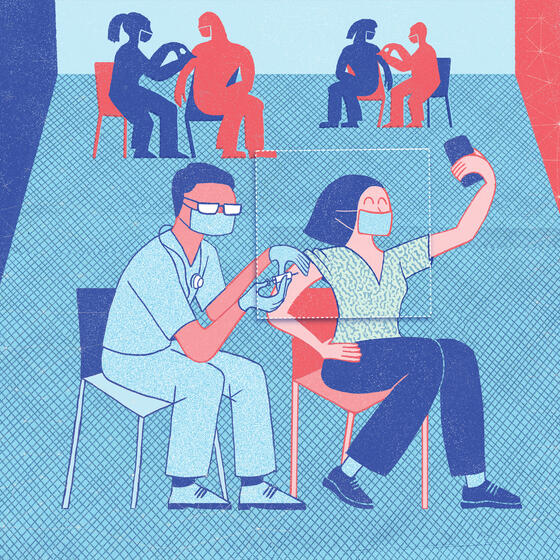 A drawing of a woman taking a selfie while getting a vaccination.
