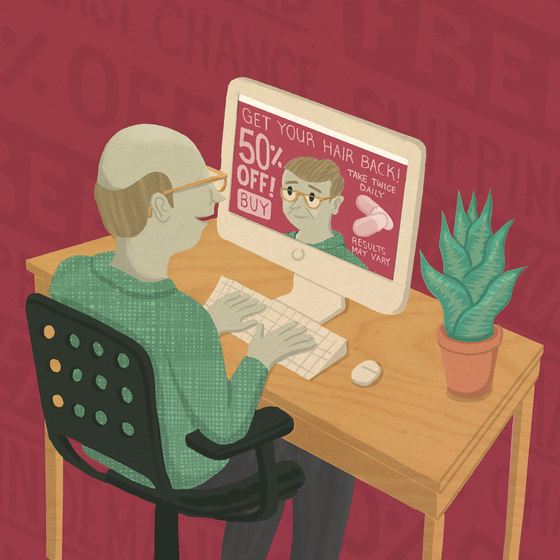 An illustration of a bald man looking at an ad for a hair growth product that includes a version of himself with hair