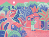 An illustration of a public-health worker knocking on a door in the jungle