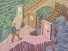 An illustration of a man choosing between three doors leading into shark-infested waters