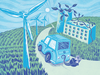 An illustration of an electric car moving through a landscape of wind turbines